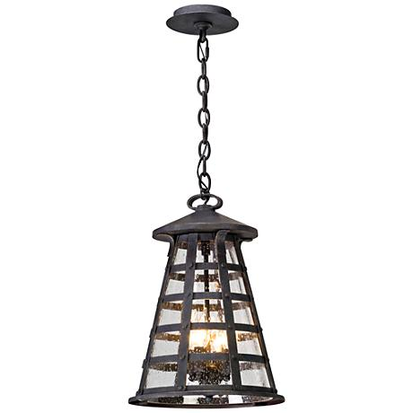 "Benjamin 12 1/2"" Wide Vintage Iron Outdoor Hanging Light"