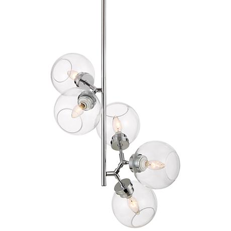 "Possini Euro Diamet 17"" Wide Chrome-Glass 5-Light Pendant"