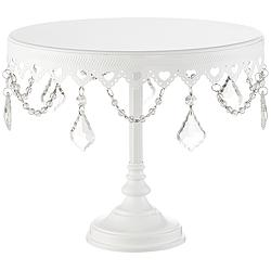 "La-Romain White Beaded 10"" Round Single Tier Cake Stand"