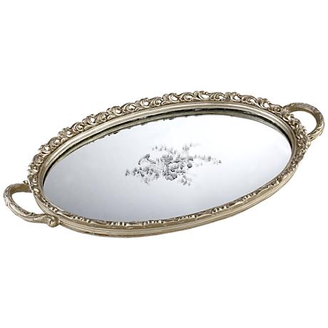 Bellington Silver Floral Large Decorative Mirrored Tray