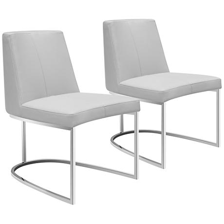 Chichi Taupe Faux Leather Dining Chair Set Of 2 9P491