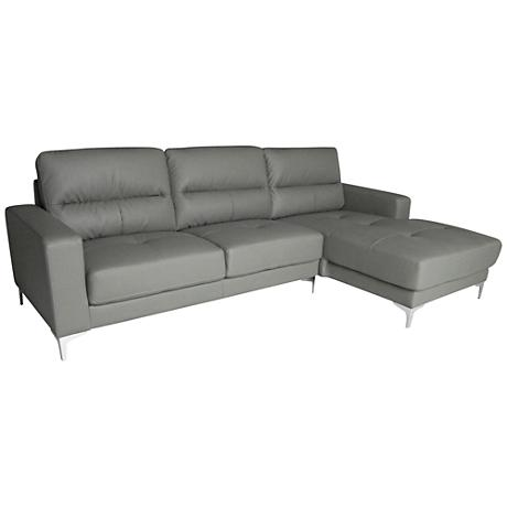 Memphis Gray Faux Leather 2-Piece Sectional Set