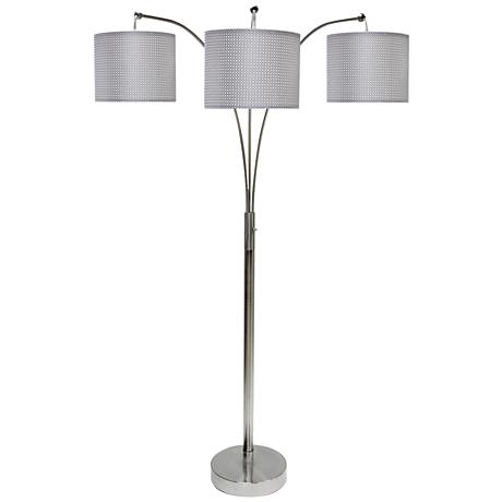 emjay brushed steel 3 light modern arc floor lamp 9p768 www. Black Bedroom Furniture Sets. Home Design Ideas