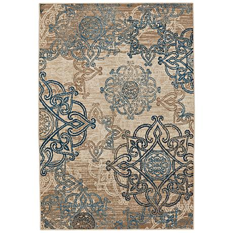 Capel Bethel-Celtic Ecru Blue Indoor/Outdoor Area Rug