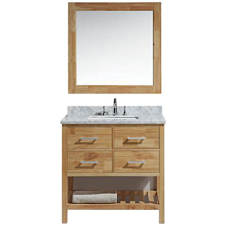 "London 36"" Carrara Marble Honey Oak Single Sink Vanity Set"