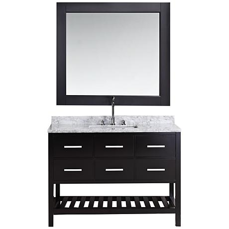 "London 48"" Marble Espresso Six-Drawer Single Sink Vanity Set"