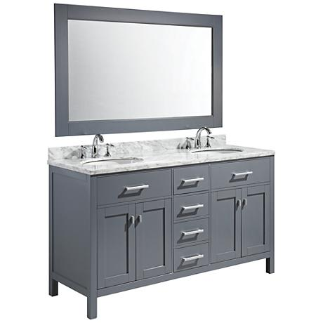 "London 61"" Carrara Marble Gray Double Sink Vanity Set"