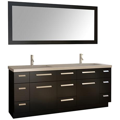 "Moscony 72"" Espresso Double Sink Vanity Set with Mirror"