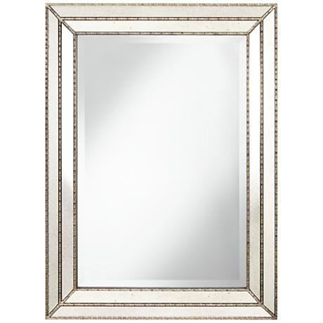 "Dash Antique Silver 30"" x 40"" Paneled Wall Mirror"