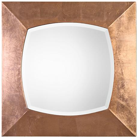 "Uttermost Tarvos Aged Copper Leaf 30"" Square Wall Mirror"