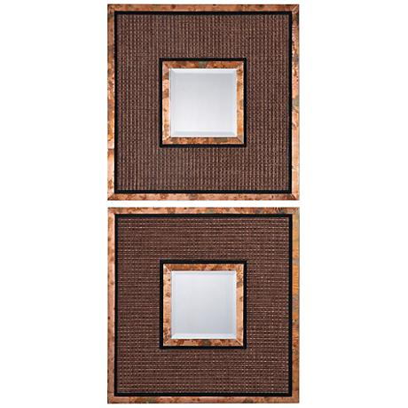 "Uttermost Milia Copper 20"" Square Wall Mirror Set of 2"