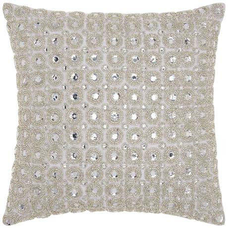 "Kathy Ireland Beaded 12"" Square Gray Throw Pillow"