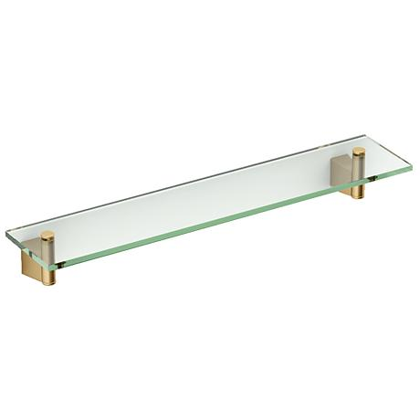 "Gatco Bleu Matte Brass 20 1/4"" Wide Glass Shelf"