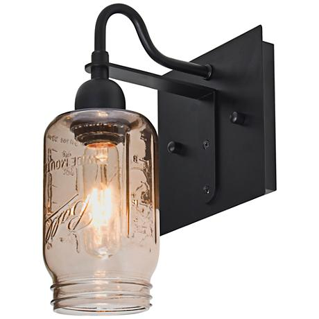 "Besa Milo 10 3/4""H Black Smoke Wall Sconce"