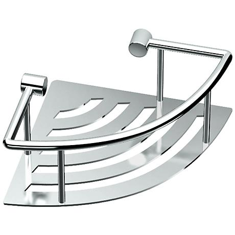 "Gatco Elegant Chrome 8"" Wide Corner Shelf with Rails"