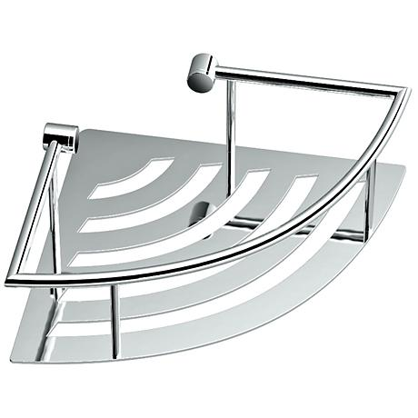 "Gatco Elegant Chrome 11"" Wide Corner Shelf with Rails"