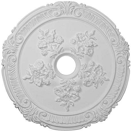 "Attica with Rose 26"" Wide Primed Round Ceiling Medallion"