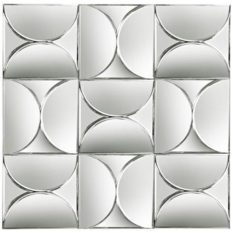 "Grid Mosaic 28 1/2"" Square Frameless Wall Mirror"