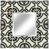Tribbey Hand-Painted Gray Tile Square Wall Mirror