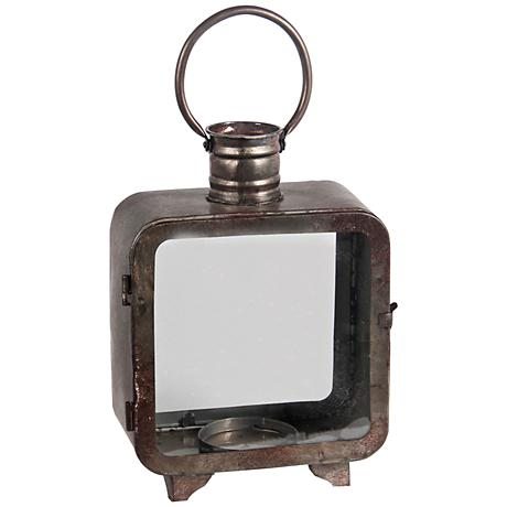 Chronos Medium Vintage Gray Votive Candle Holder Lantern