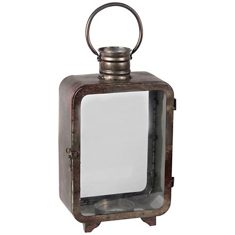 Chronos Large Vintage Gray Votive Candle Holder Lantern