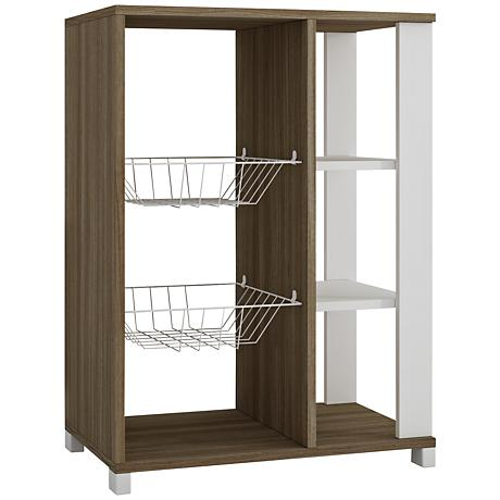 Useful Pasir Oak and White Pantry Rack