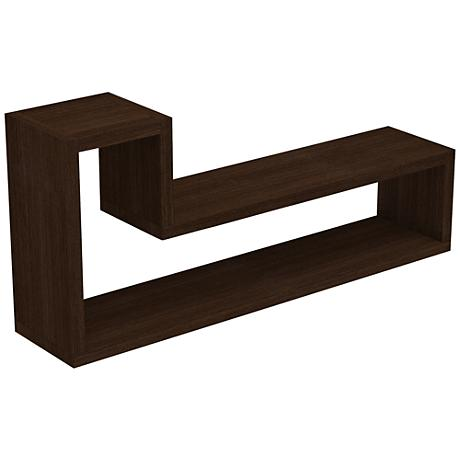 "Barabs Tetris Tobacco ""L"" Shaped Floating Wall Shelf"