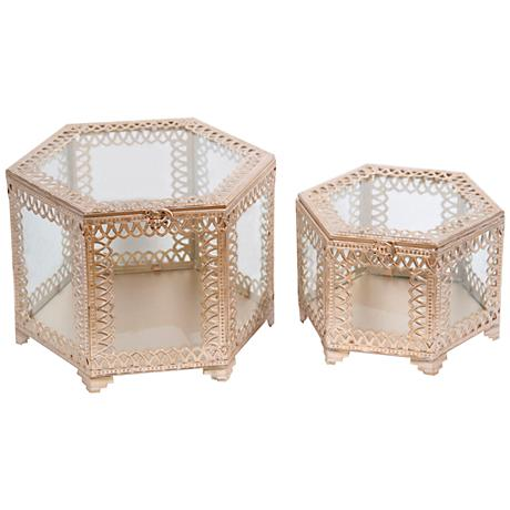 Trezo Octagon Champagne 2-Piece Glass Keepsake Box Set