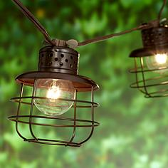 Cage Lantern Brown 10-Light Outdoor String Light Set