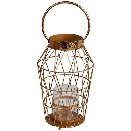 Andersen Large Gold Leaf Votive Candle Holder Lantern