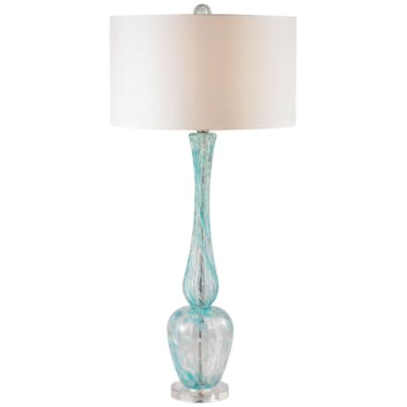 Ina Swirl Glass Light Blue Swirl Tall Slender Table Lamp