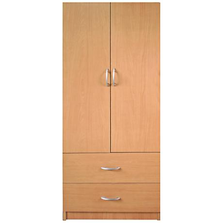 Deandra Maple 2-Door 2-Drawer Modern Wardrobe