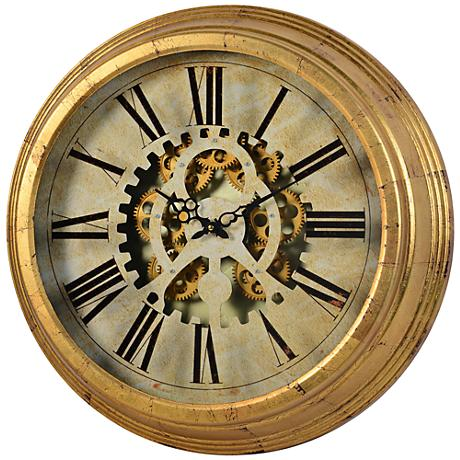 "Cooper Classics Dabney Gear Antiqued Gold 22 3/4""W Clock"