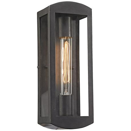 "Trenton 13"" High Blackened Bronze Outdoor Wall Light"