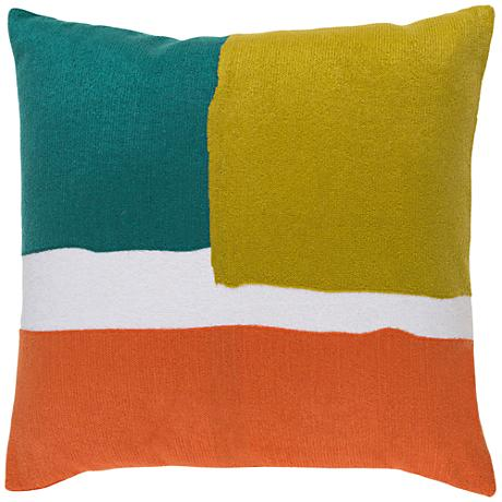 "Surya Harvey Green and Orange 20"" Square Throw Pillow"