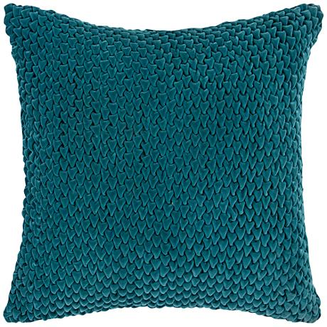 "Surya Velvet Luxe Green 18"" Square Throw Pillow"