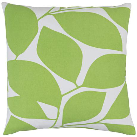"Surya Somerset Green and Neutral 18"" Square Throw Pillow"