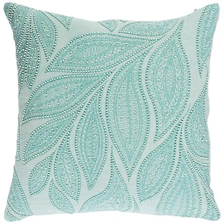 "Surya Tansy Green and Neutral 18"" Square Throw Pillow"