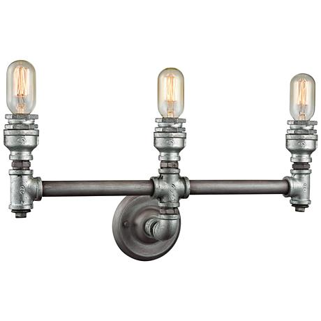 "Cast Iron Pipe 22"" Wide Weathered Zinc 3-Light Bath Light"