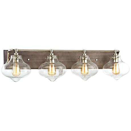 "Kelsey 37""W Weathered Zinc and Polished Nickel Bath Light"