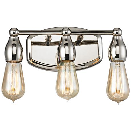 "Vernon 12"" Wide Polished Nickel 3-Light Bath Light"