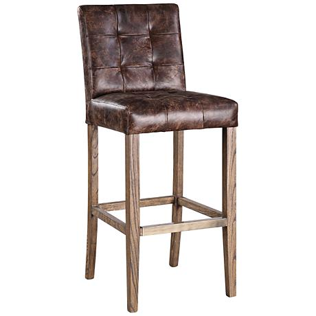 "Uttermost Julian 30"" Chocolate Top-Grain Leather Barstool"