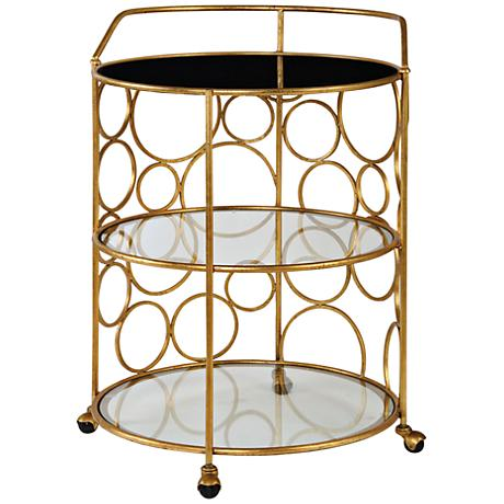 Uttermost Xandra Antiqued Gold 3-Shelf Round Serving Cart