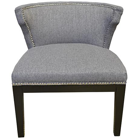 Kyra Gray Stallion Linen Low-Back Accent Chair