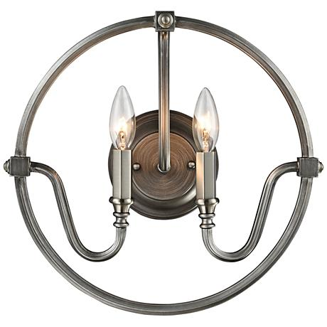 "Stanton 14""H Weathered Zinc and Brushed Nickel Wall Sconce"