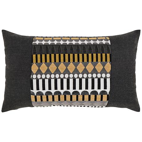 "Elaine Smith Golden Deco 20""x12"" Indoor-Outdoor Pillow"