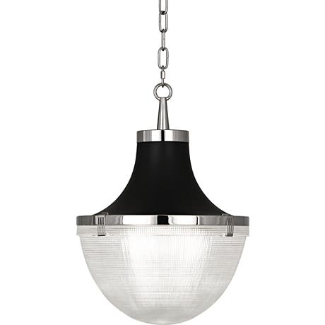 "Brighton 13""W Polished Nickel and Matte Black Pendant Light"