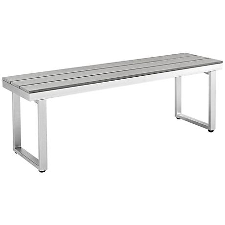 Vasara Gray All-Weather Outdoor Patio Dining Bench