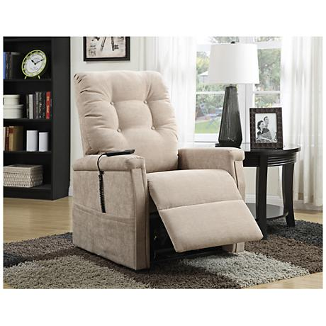 Montreal Cream Microfiber Power Recliner Lift Chair