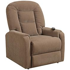 Raider Mocha 2-Motor Lie-Flat Recliner Full-Lift Chair